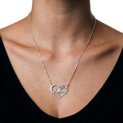 Personligt namn halsband med hjärta i silver - 1