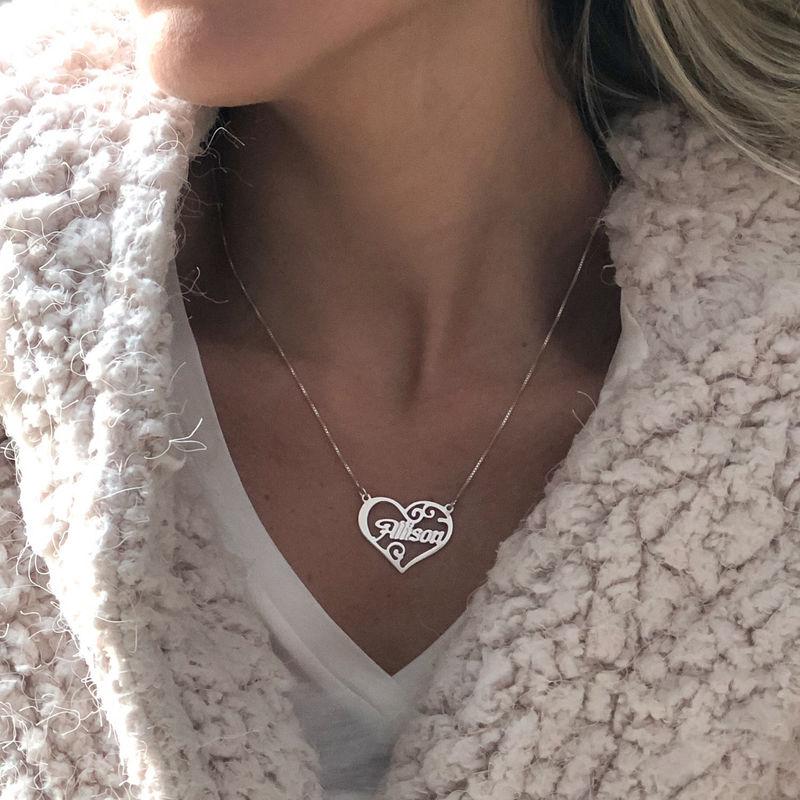 Personligt namn halsband med hjärta i silver - 2
