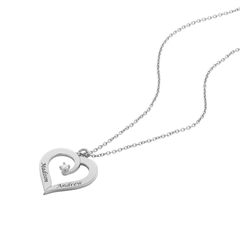 Personligt Hjärtformat Halsband med Diamant i Sterling Silver - 1