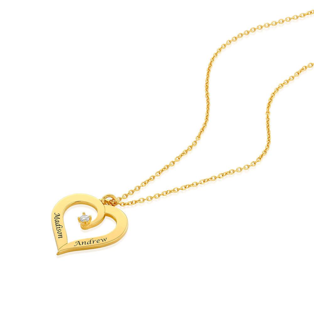 Personligt Hjärtformat Halsband med Diamant i 18K Guldplätering - 1