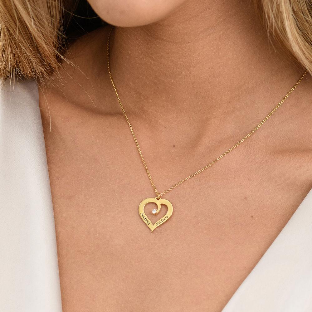 Personligt Hjärtformat Halsband med Diamant i 18K Guldplätering - 3