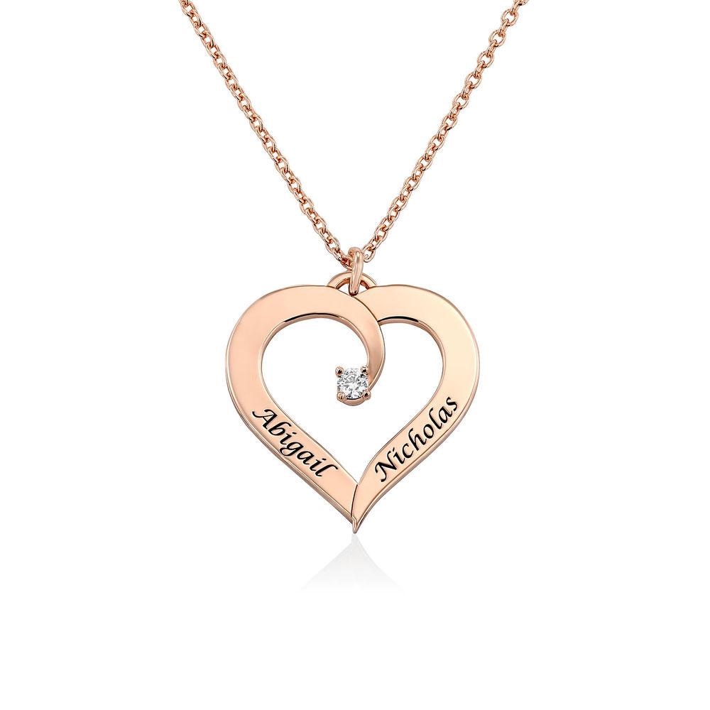 Personligt Hjärtformat Halsband med Diamant i 18K Roséguldplätering