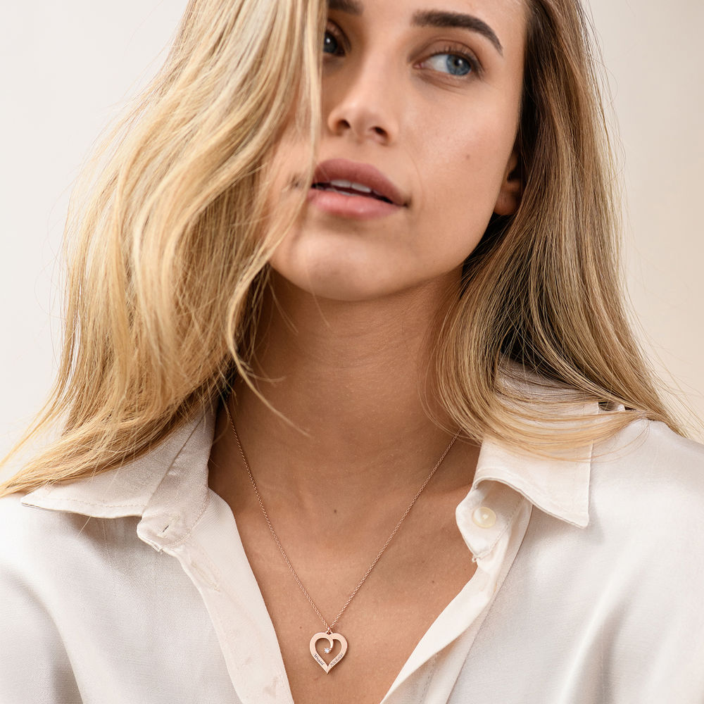 Personligt Hjärtformat Halsband med Diamant i 18K Roséguldplätering - 2