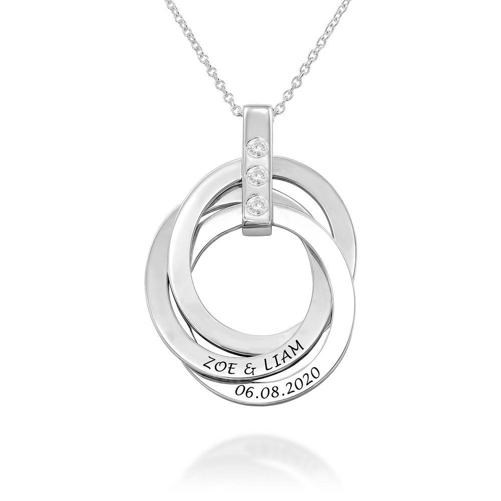 Personligt Halsband med Ryska Ringar och Månadsstenar i Sterling Silver