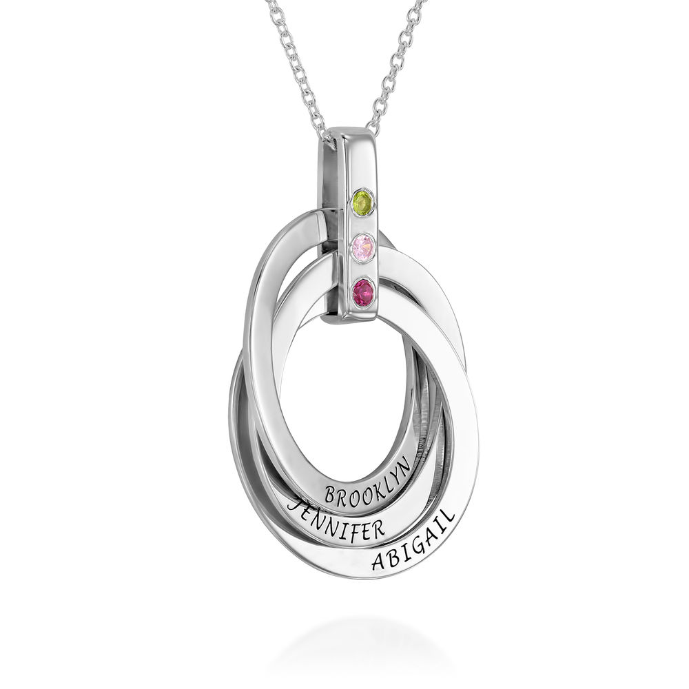 Personligt Halsband med Ryska Ringar och Månadsstenar i Sterling Silver - 2