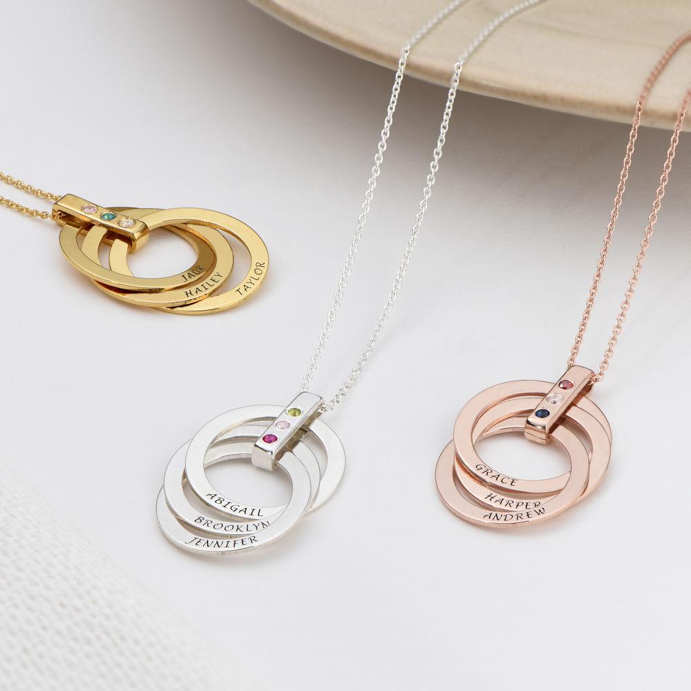 Personligt Halsband med Ryska Ringar och Månadsstenar i Sterling Silver - 3