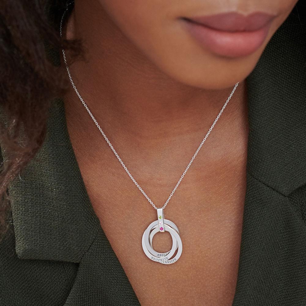 Personligt Halsband med Ryska Ringar och Månadsstenar i Sterling Silver - 5