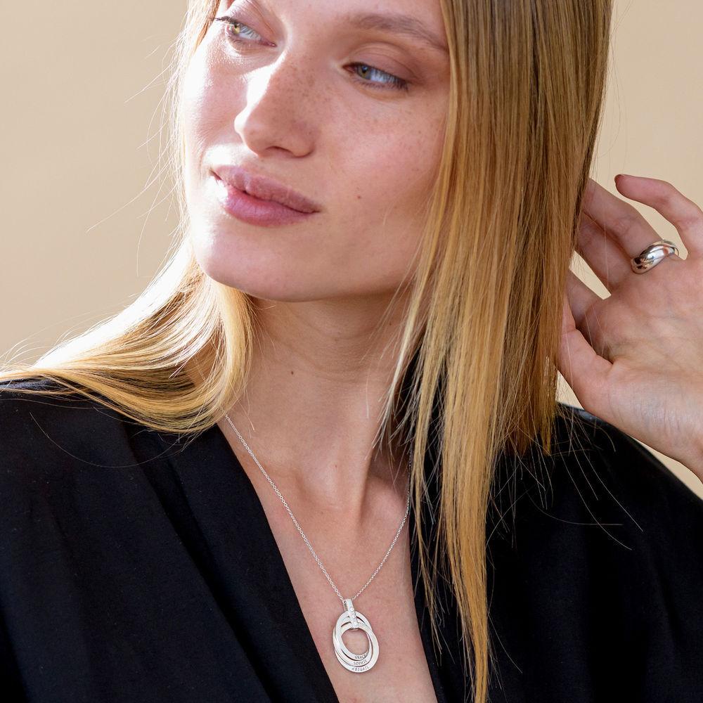 Personligt Halsband med Ryska Ringar och Månadsstenar i Sterling Silver - 6