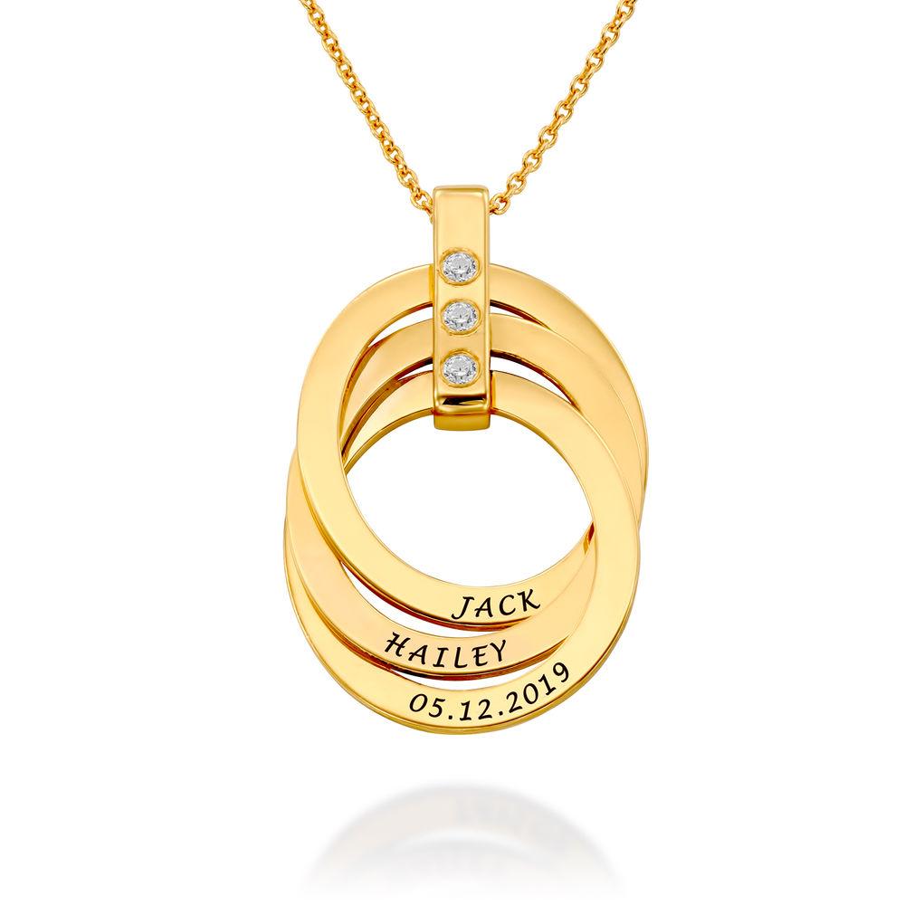 Personligt Halsband med Ryska Ringar och Månadsstenar i Guldplätering