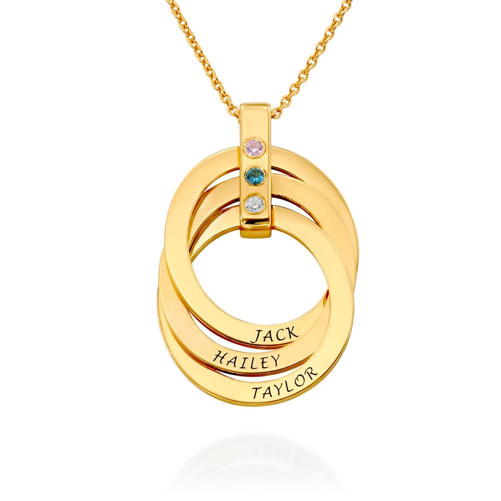 Personligt Halsband med Ryska Ringar och Månadsstenar i Guldplätering - 1