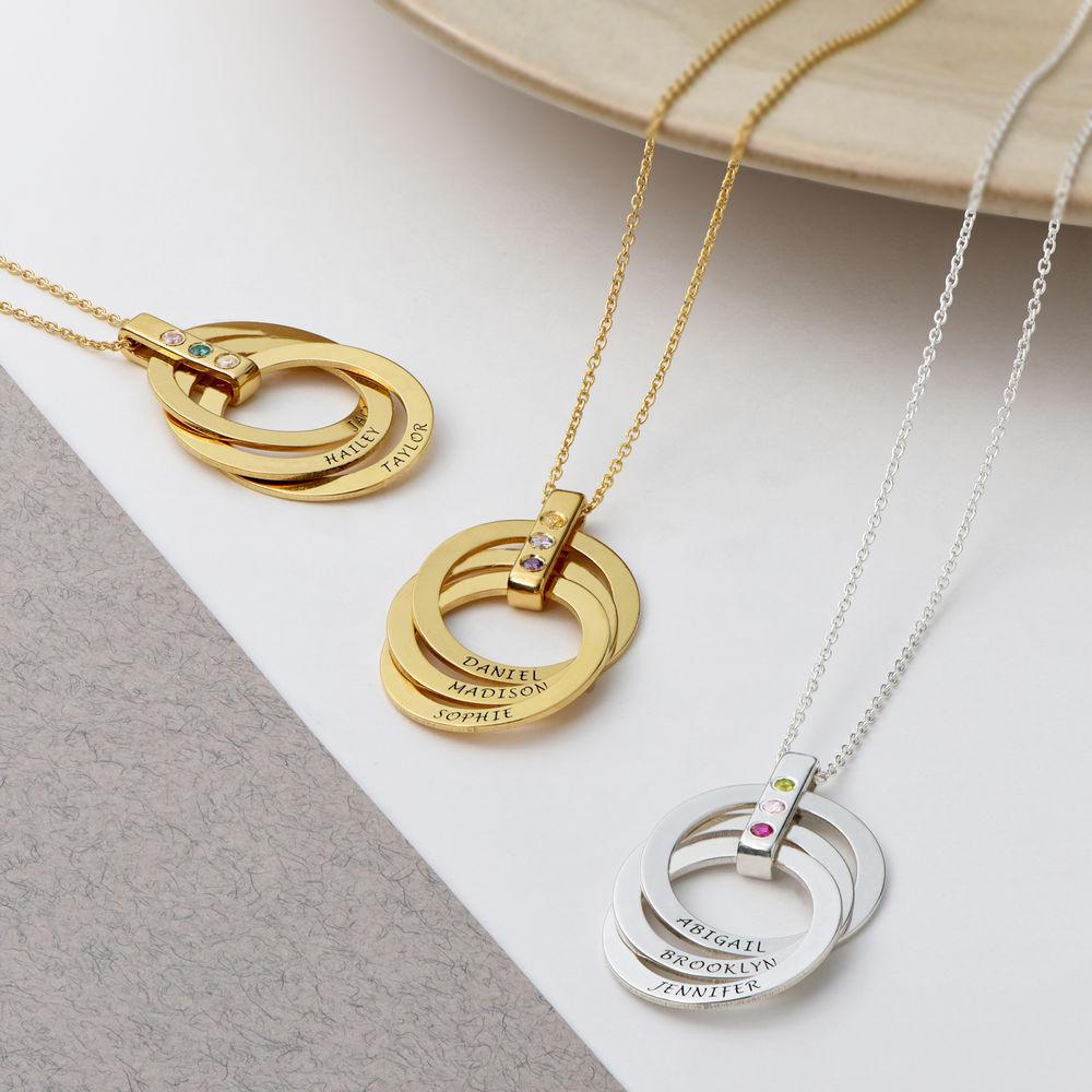Personligt Halsband med Ryska Ringar och Månadsstenar i Guldplätering - 3