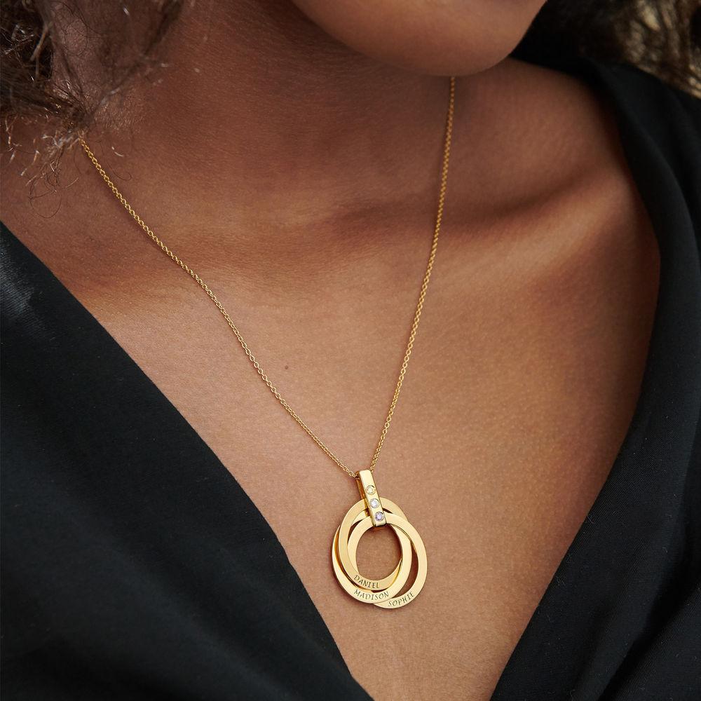 Personligt Halsband med Ryska Ringar och Månadsstenar i Guldplätering - 7