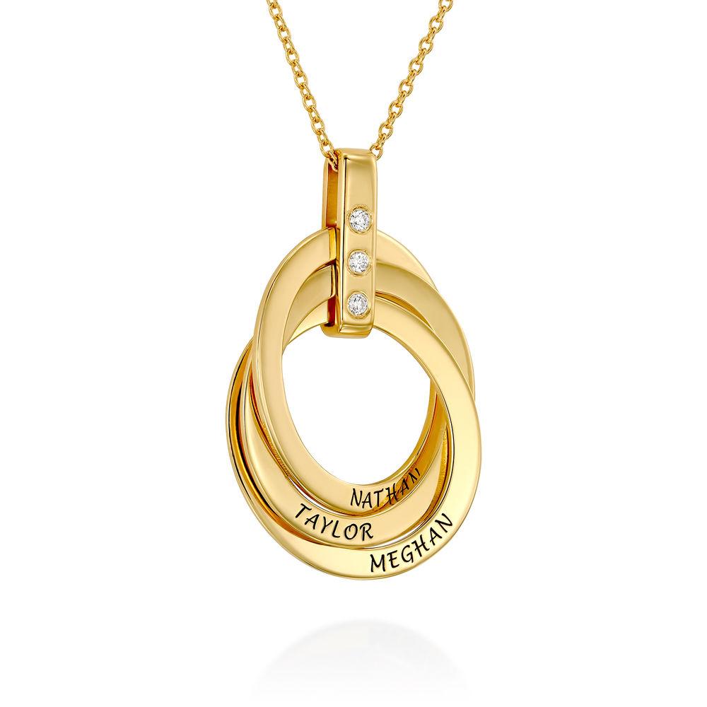 Personligt Halsband med Ryska Ringar och Diamanter i  Guldplätering - 1