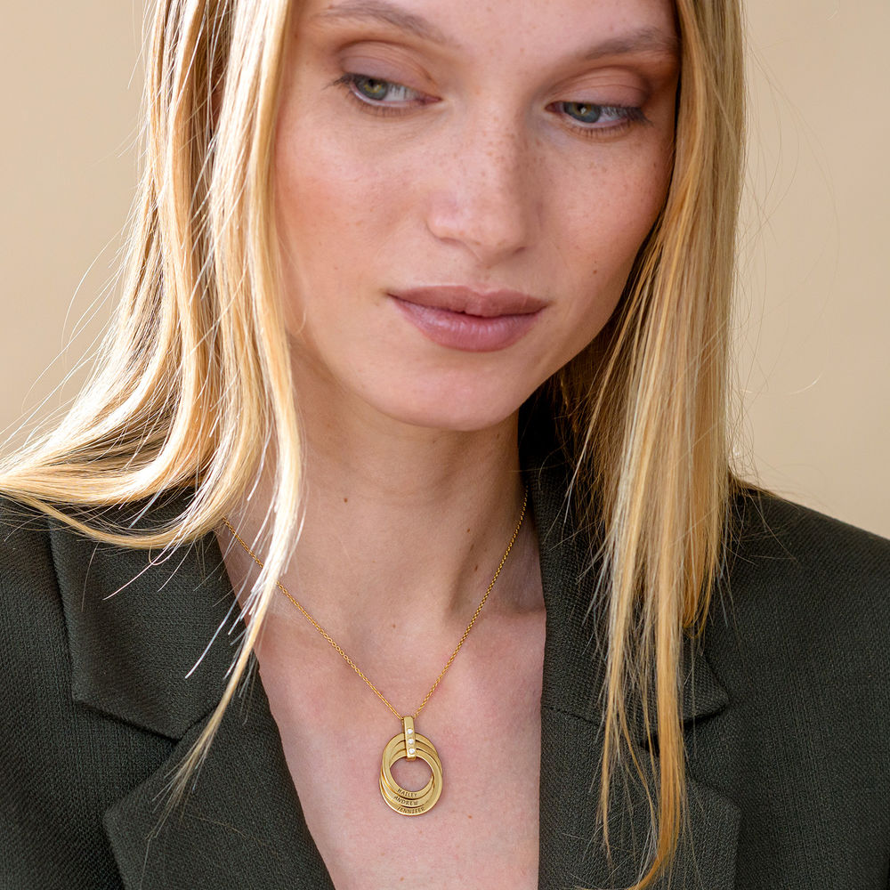 Personligt Halsband med Ryska Ringar och Diamanter i  Guldplätering - 5