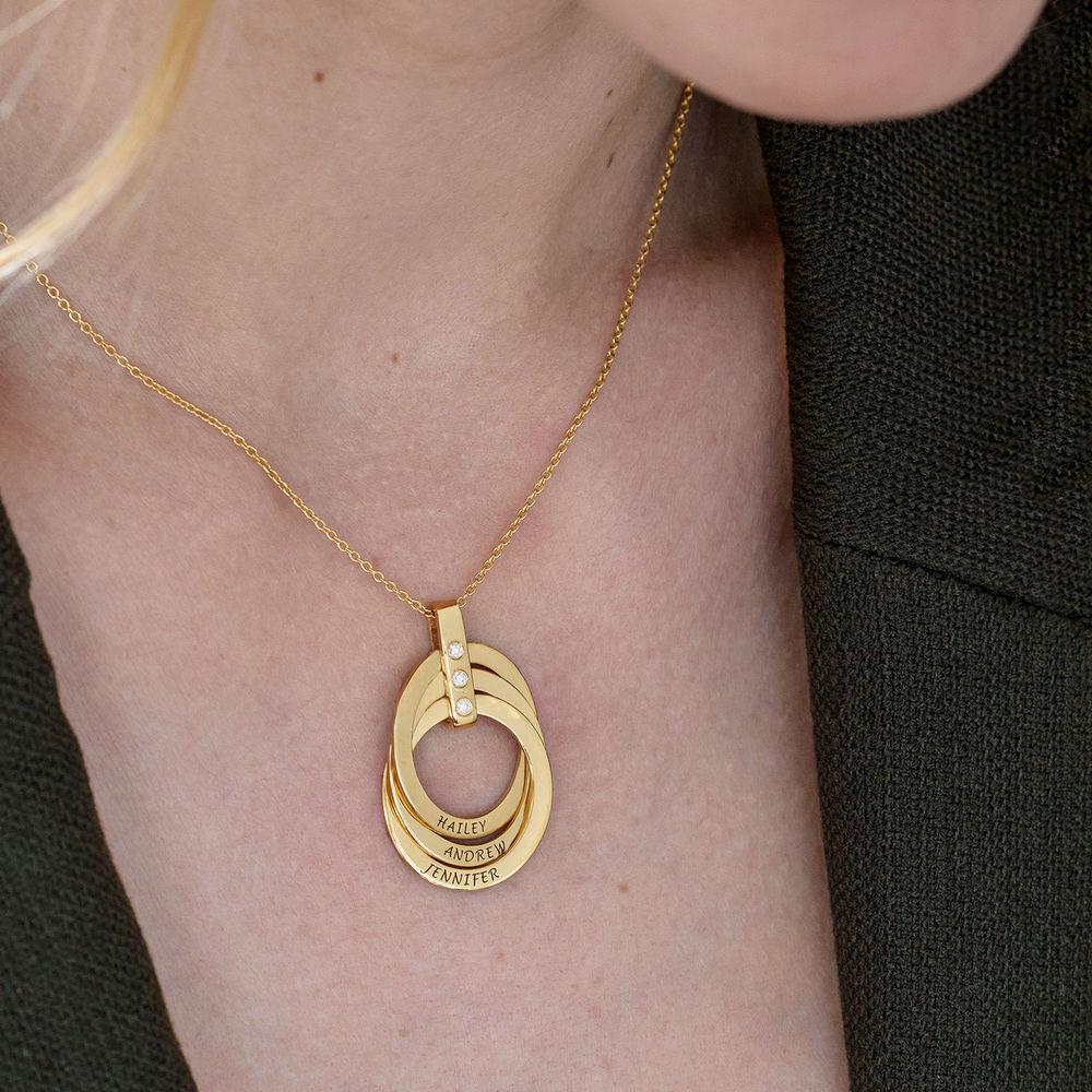Personligt Halsband med Ryska Ringar och Diamanter i  Guldplätering - 6