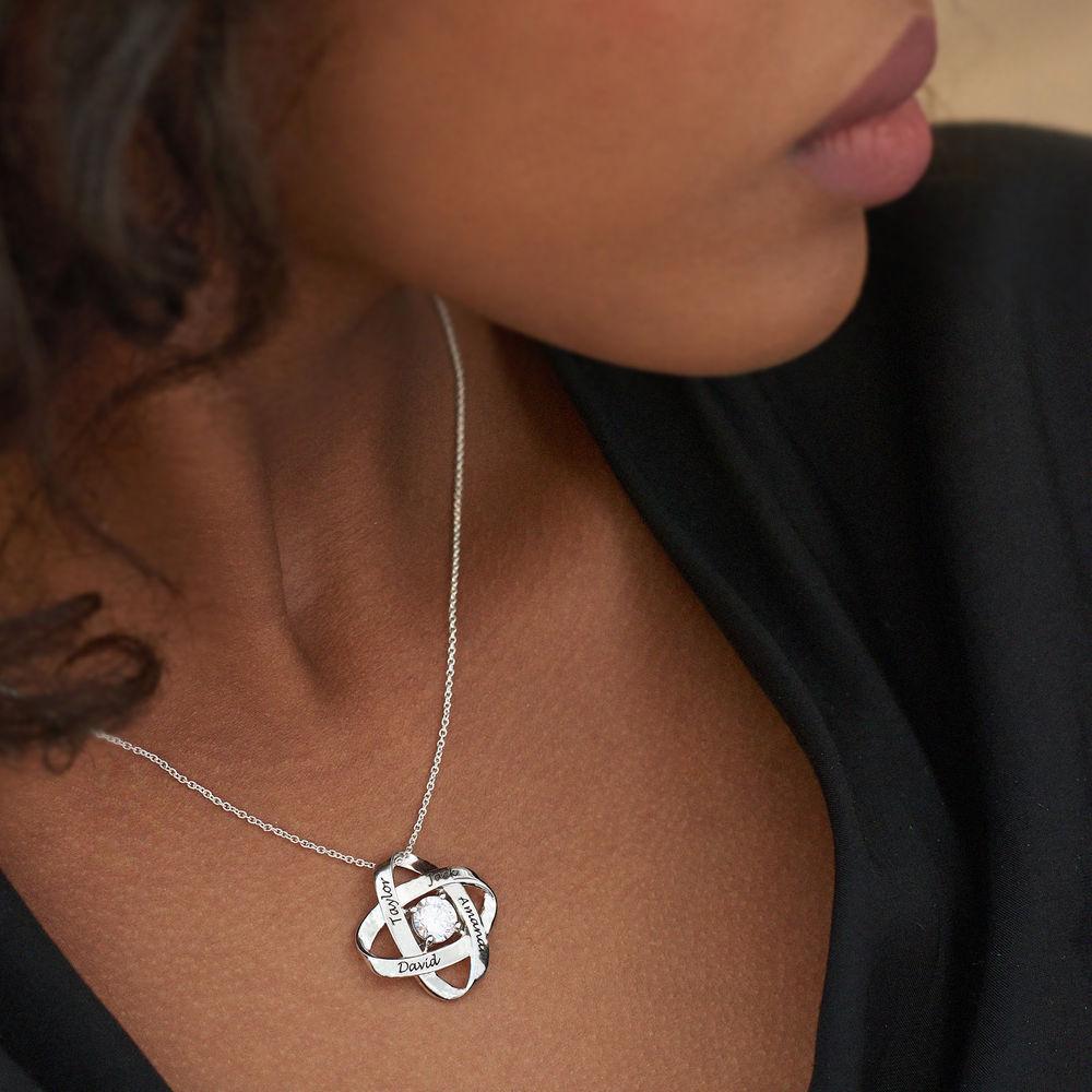 Sterling Silver Graverat Halsband med Evighetssymbol och Cubic Zorconia - 3