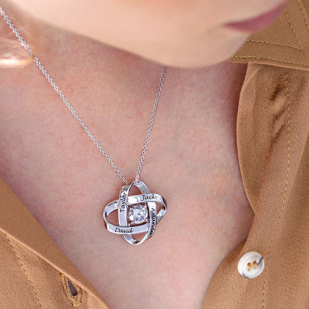 Sterling Silver Graverat Halsband med Evighetssymbol och Cubic Zorconia - 4