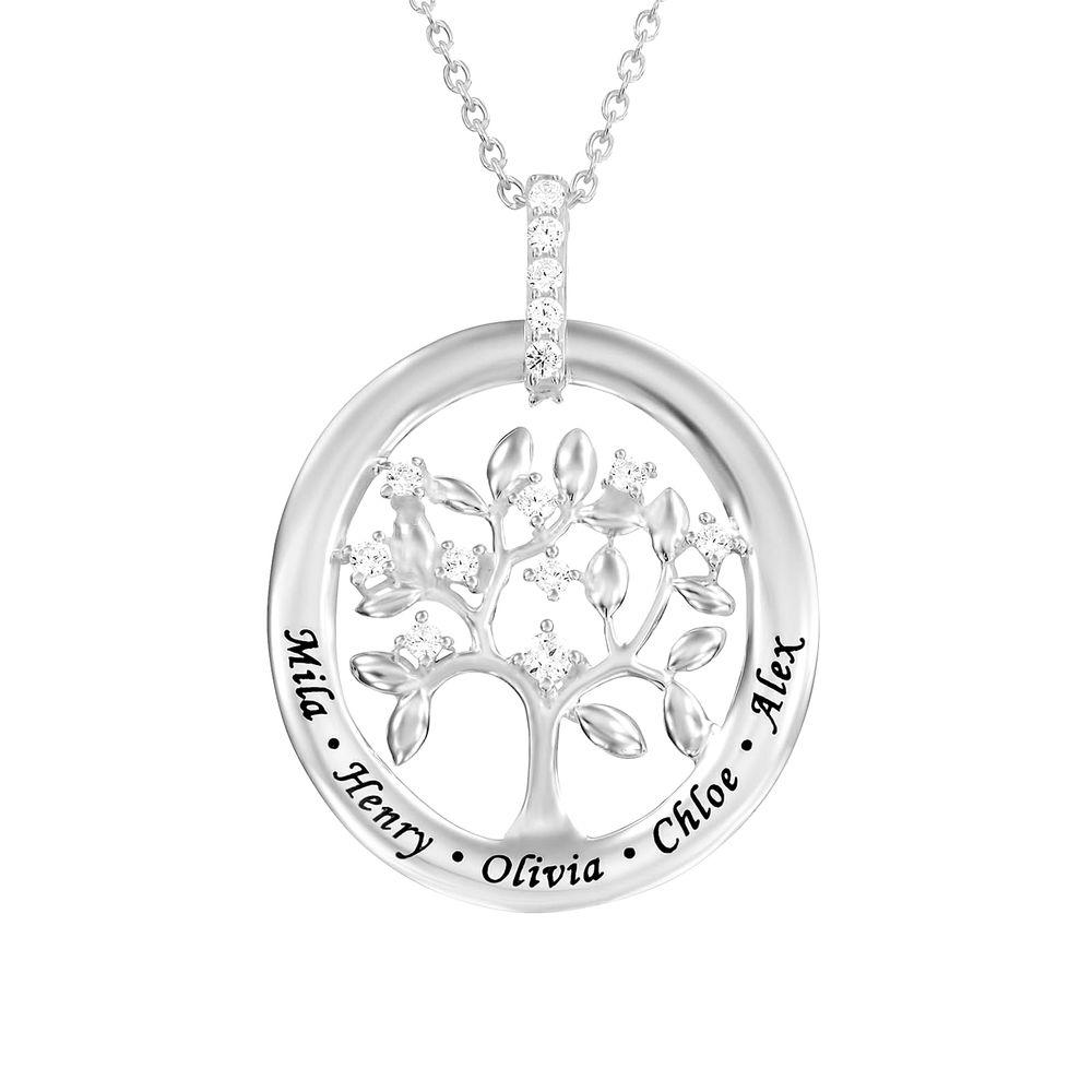 Personligt sterling silver familjeträd halsband