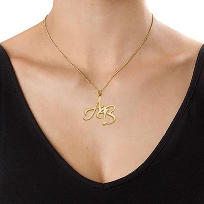 Halsband med två bokstäver i 18K guldplätering - 2
