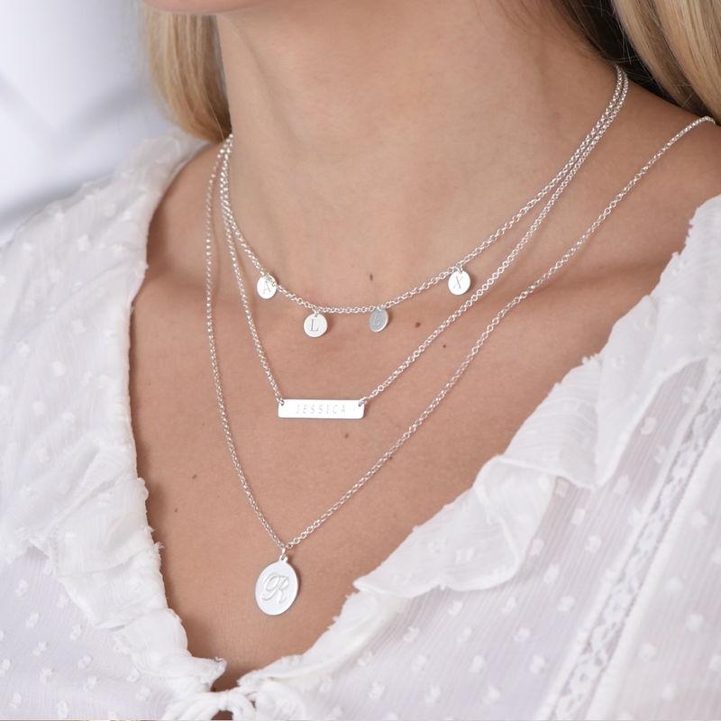 Halsband med Bokstav på Berlock med Kursiv stil - Silver - 3