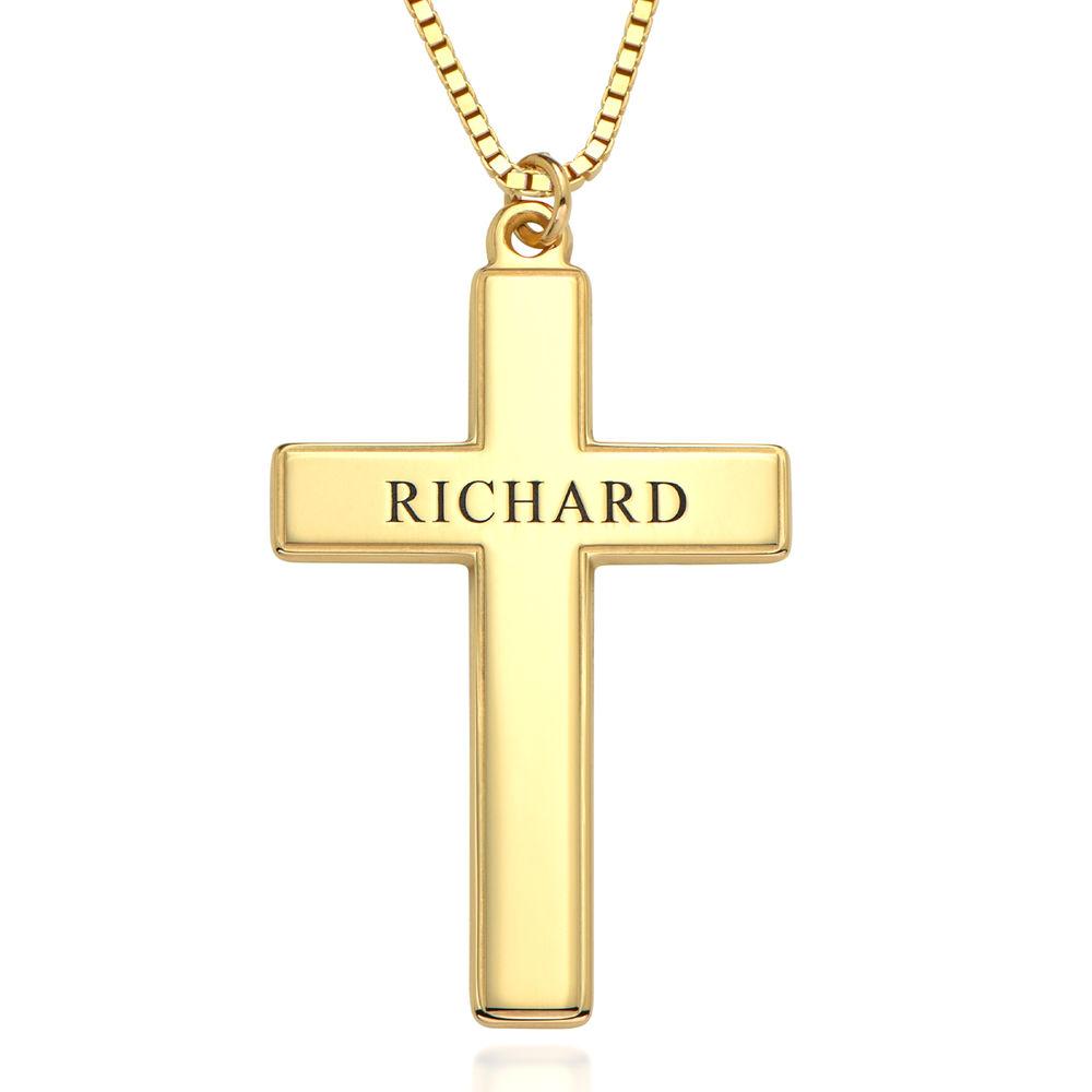 Halsband med graverat kors för män i 18k guldplätering