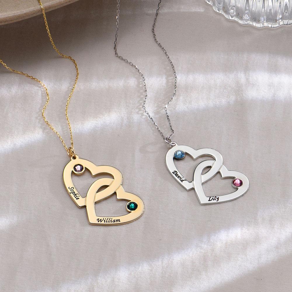 Hjärt Halsband med Månadsstenar - 10K Guld - 1