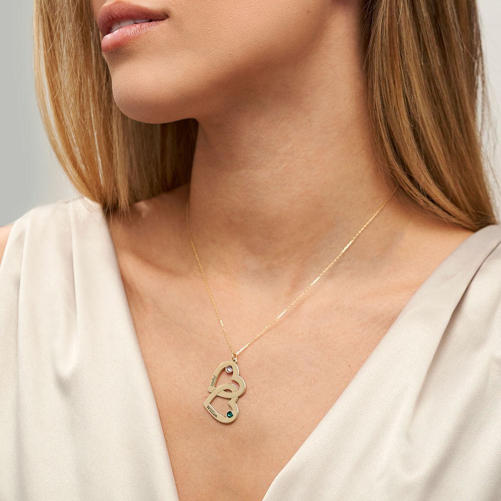 Hjärt Halsband med Månadsstenar - 10K Guld - 2