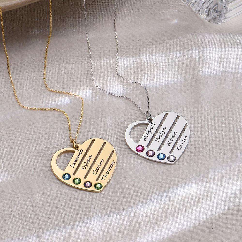Månadsstenhalsband med graverade namn på hjärta - 10K guld - 1