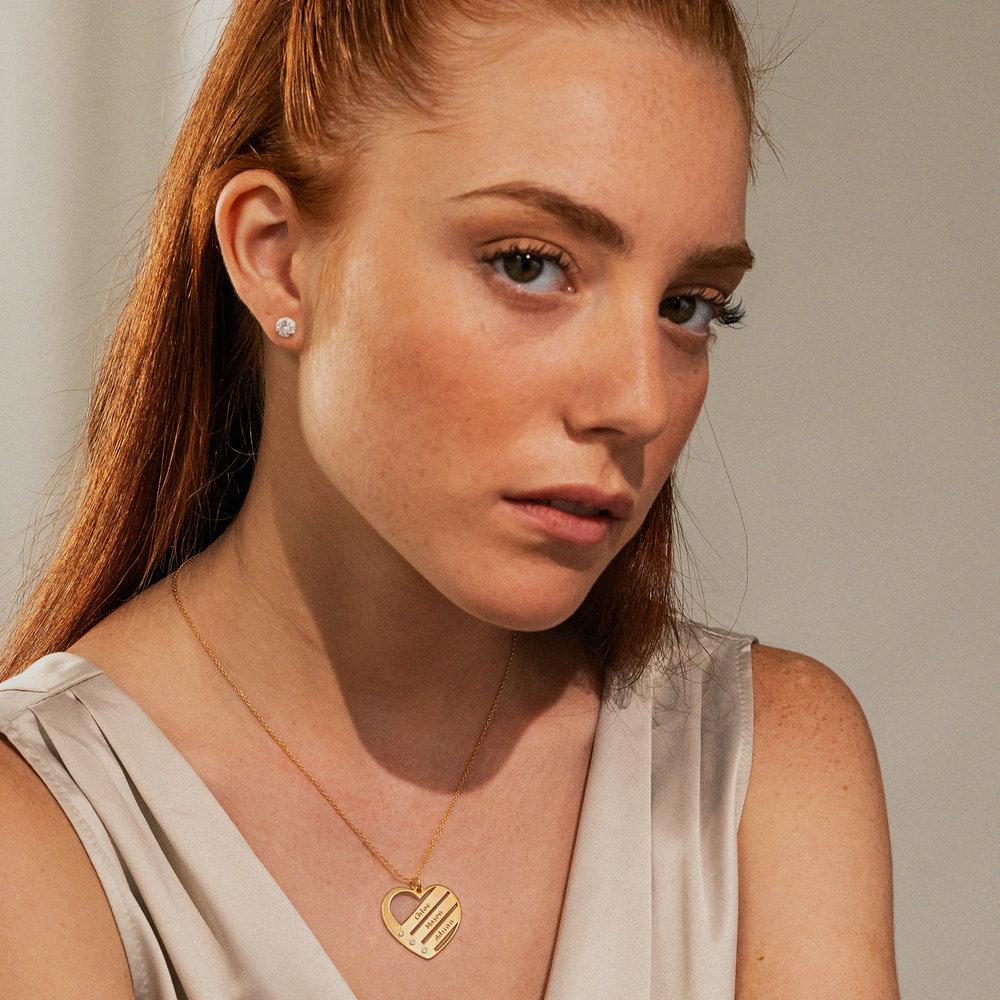 Hjärthalsband med Namn och Diamanter i Guldplätering - 2