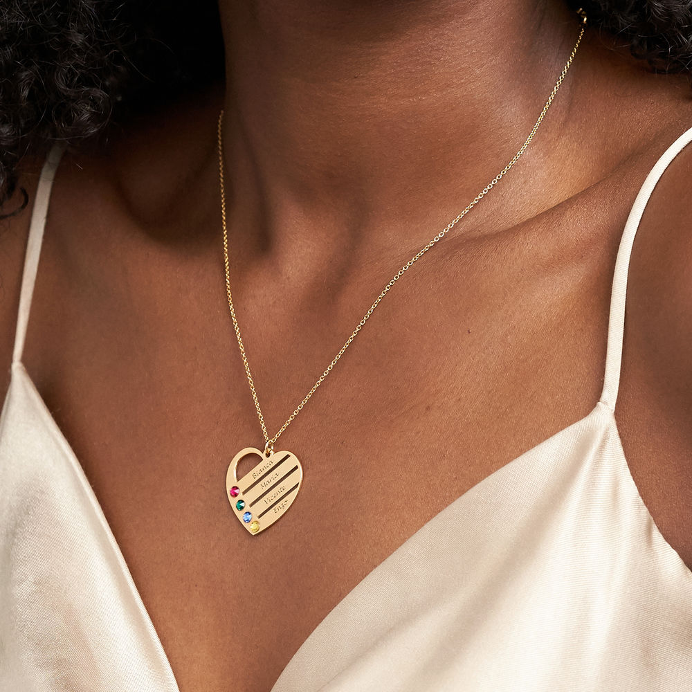 Månadsstenhalsband med graverade namn på hjärta - Guld Vermeil - 3