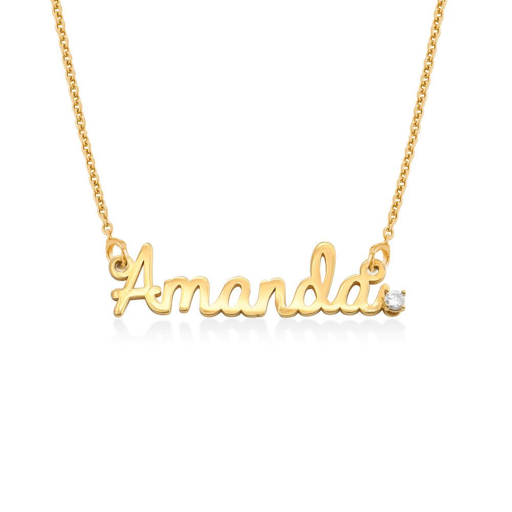 Namnhalsband med Diamant i Guldplätering