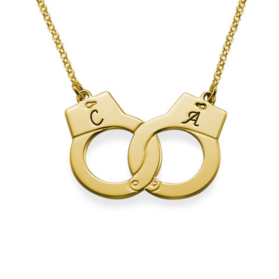 Bokstav Halsband med Handbojor i Guldpläterat