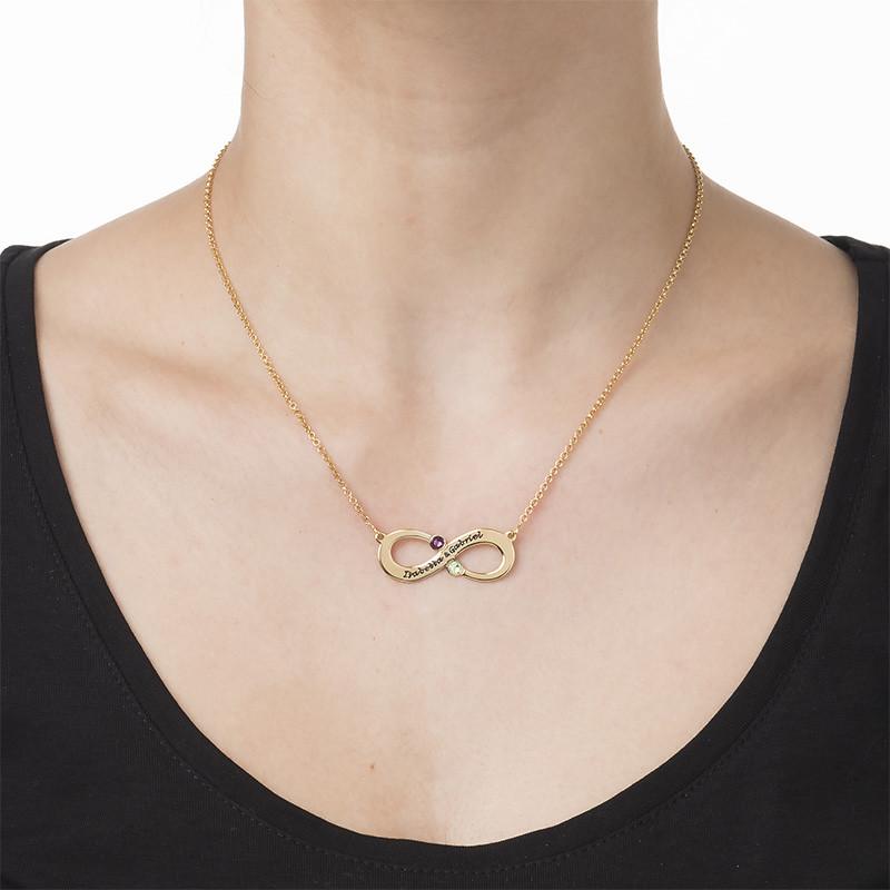 Par Infinity Halsband med Månadssten - Guldpläterat - 1