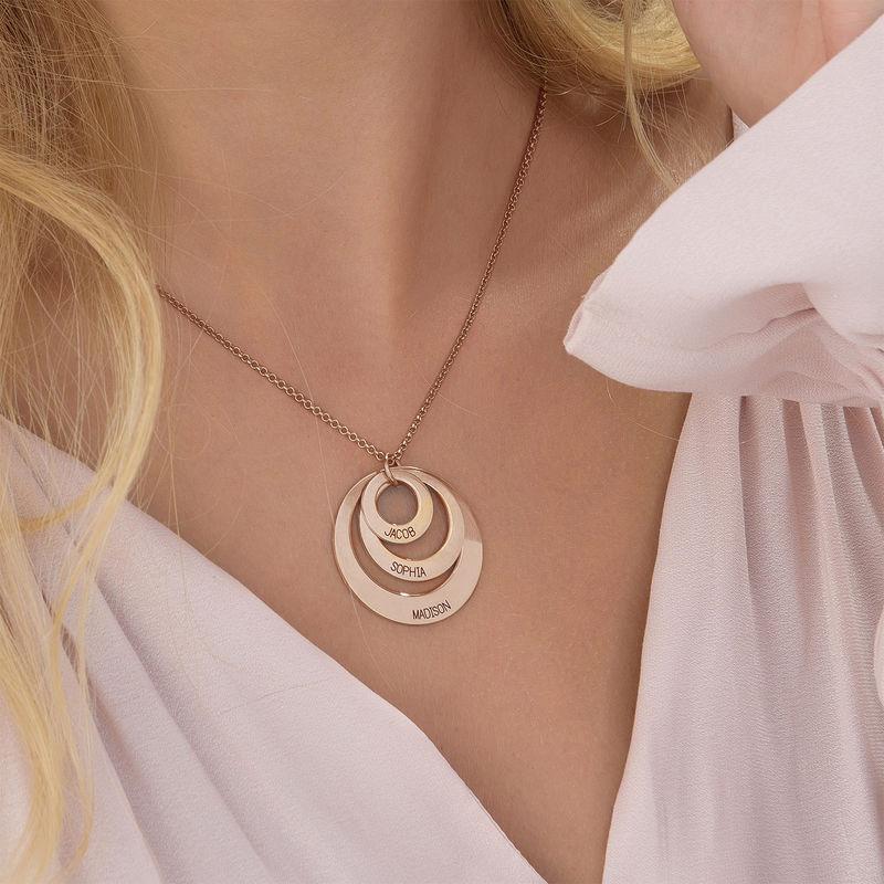 Smycken till Mammor - Halsband med tre Brickor i Rosé Guld Plätering - 5