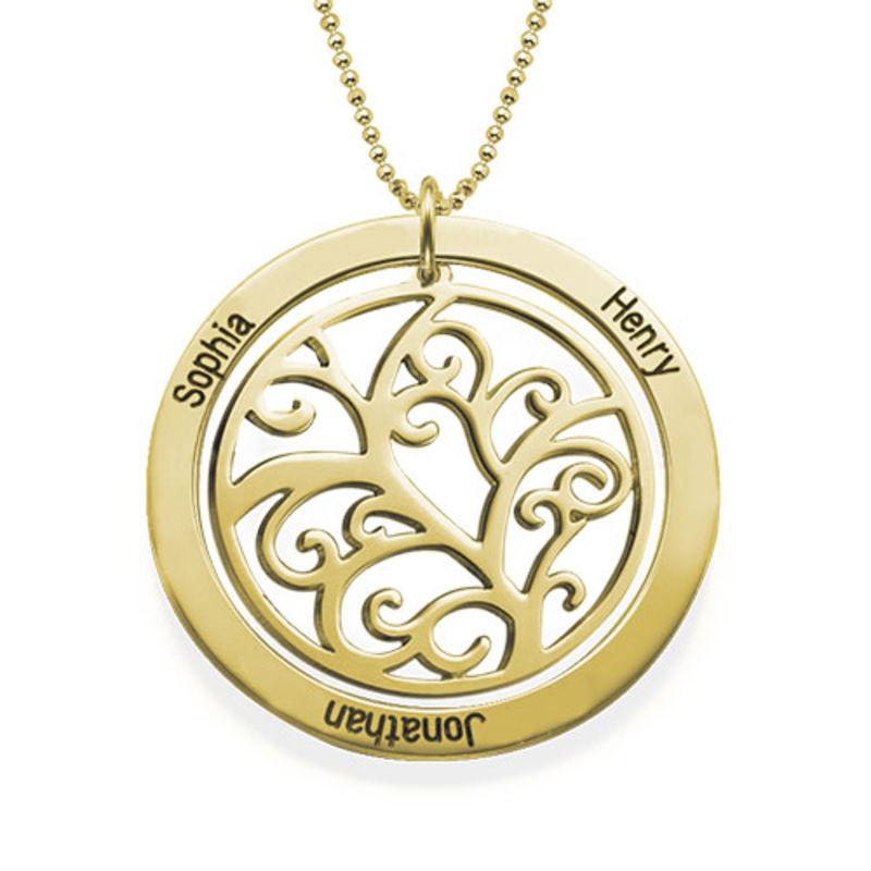Familjeträd med månadsstenar Halsband - 18k guldpläterad - 1