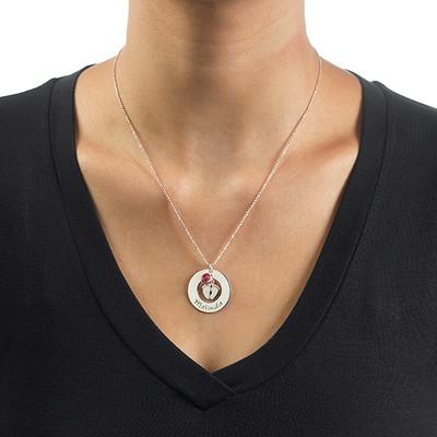 Halsband med babyfötter och månadssten - 2
