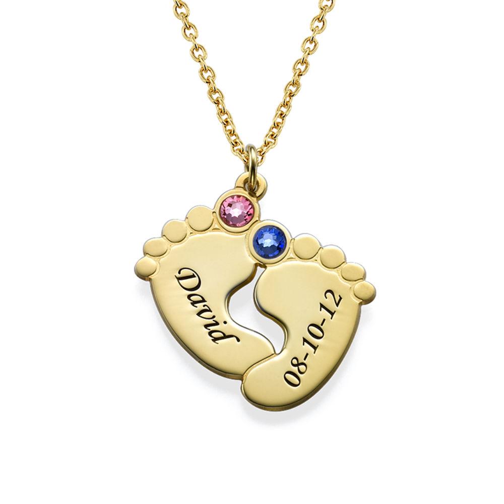 Personligt halsband med babyfötter - guldpläterat - 1