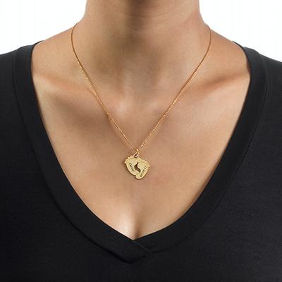 Personligt halsband med babyfötter - guldpläterat - 2