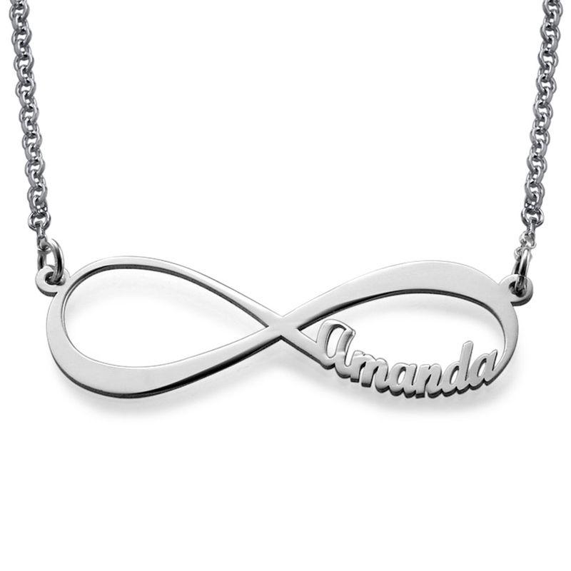 Infinity halsband med namn i 940 Premium Silver - 1