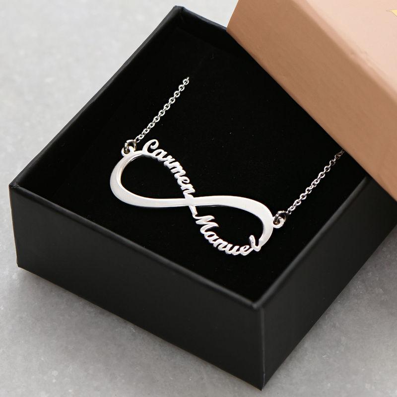 Infinity halsband med namn i 940 Premium Silver - 4