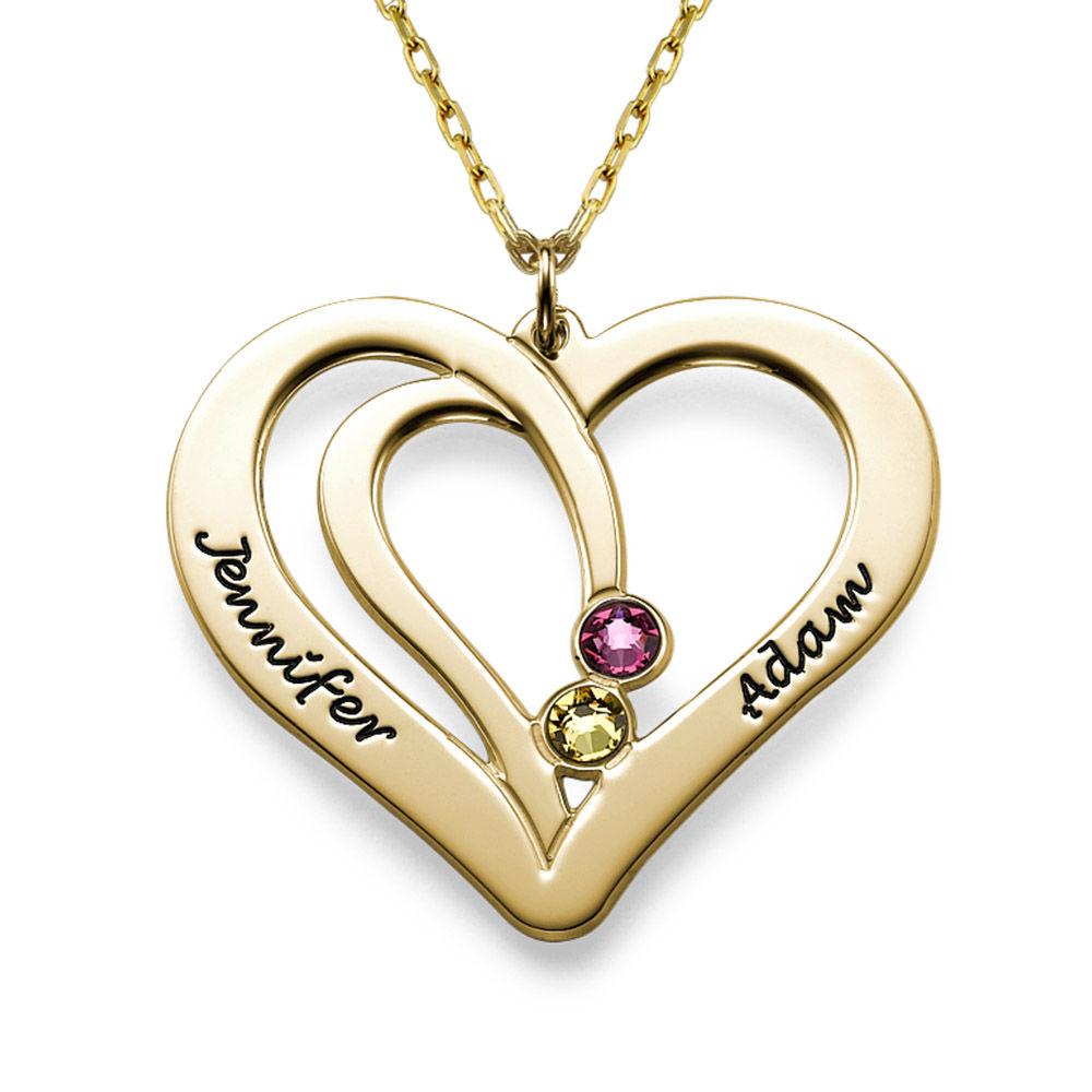 Graverat halsband för par med månadssten i 10K massivt guld