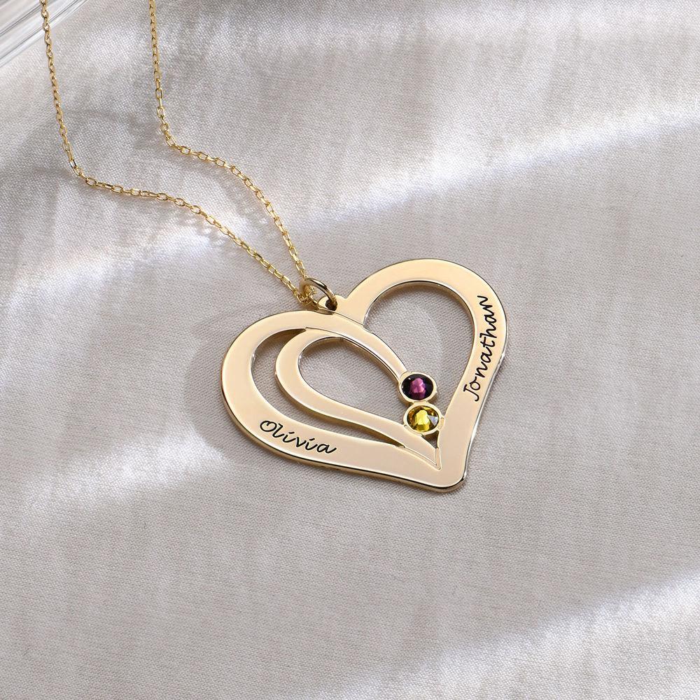Graverat halsband för par med månadssten i 10K massivt guld - 1