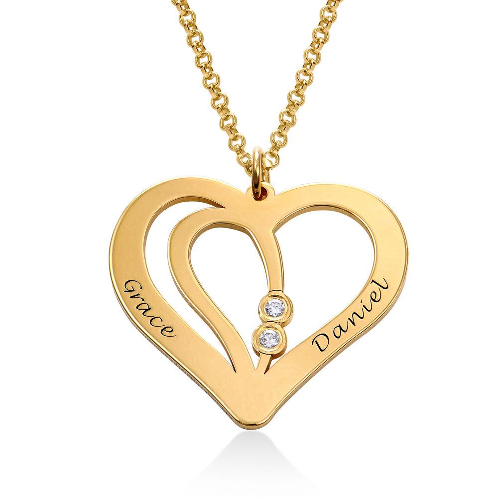 Graverat Parhalsband i Guld Vermeil med Diamanter