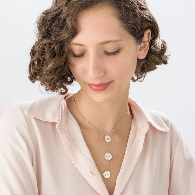 Personligt Y-format halsband med brickor i sterlingsilver - 2