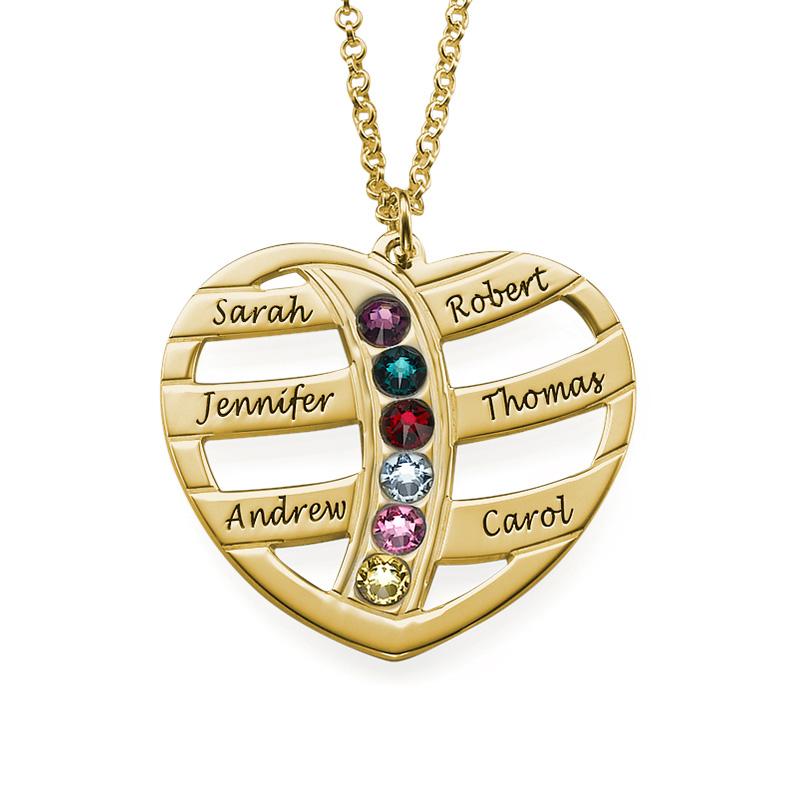 Guld pläterat hjärta med månadsstenar och gravyr