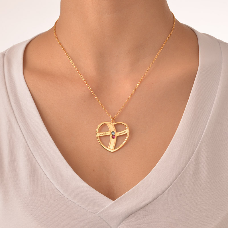 Guld pläterat hjärta med månadsstenar och gravyr - 4