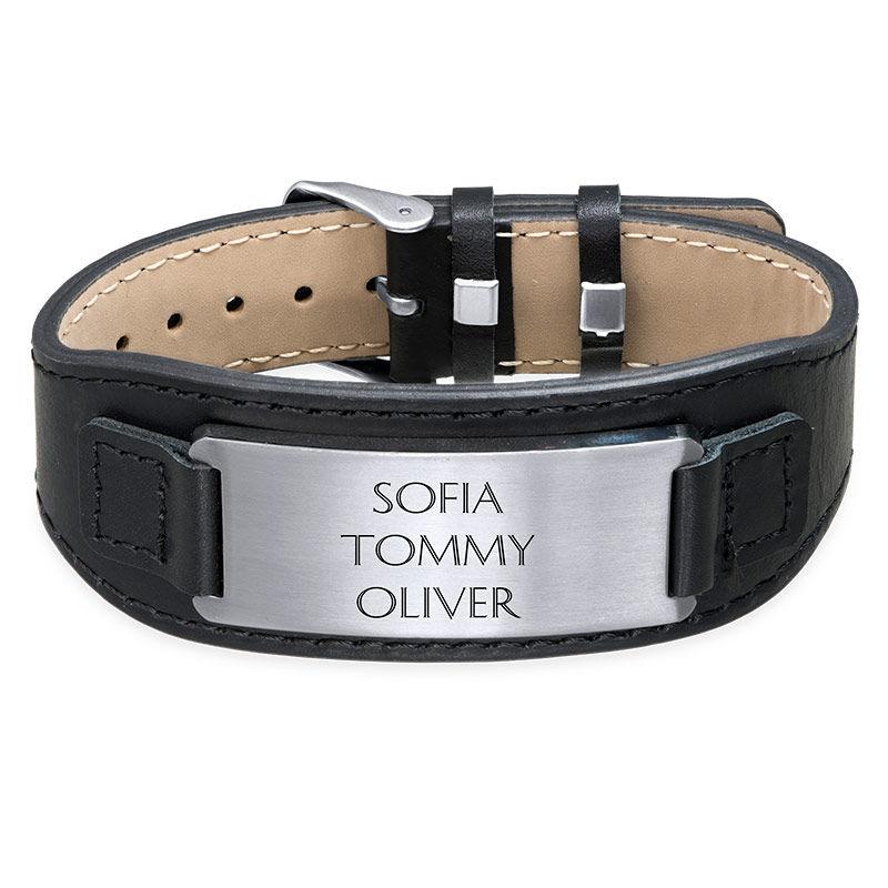 Manligt ID-armband i svart läder