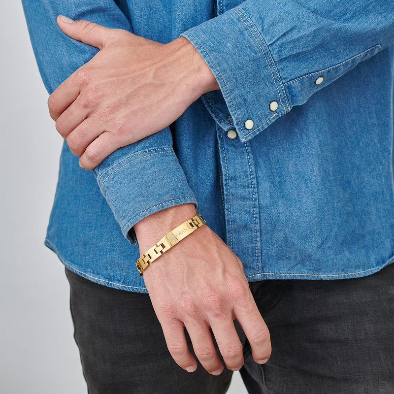 Herr Armband med Gravyr i Rostfritt Stål och Guldplätering - 1