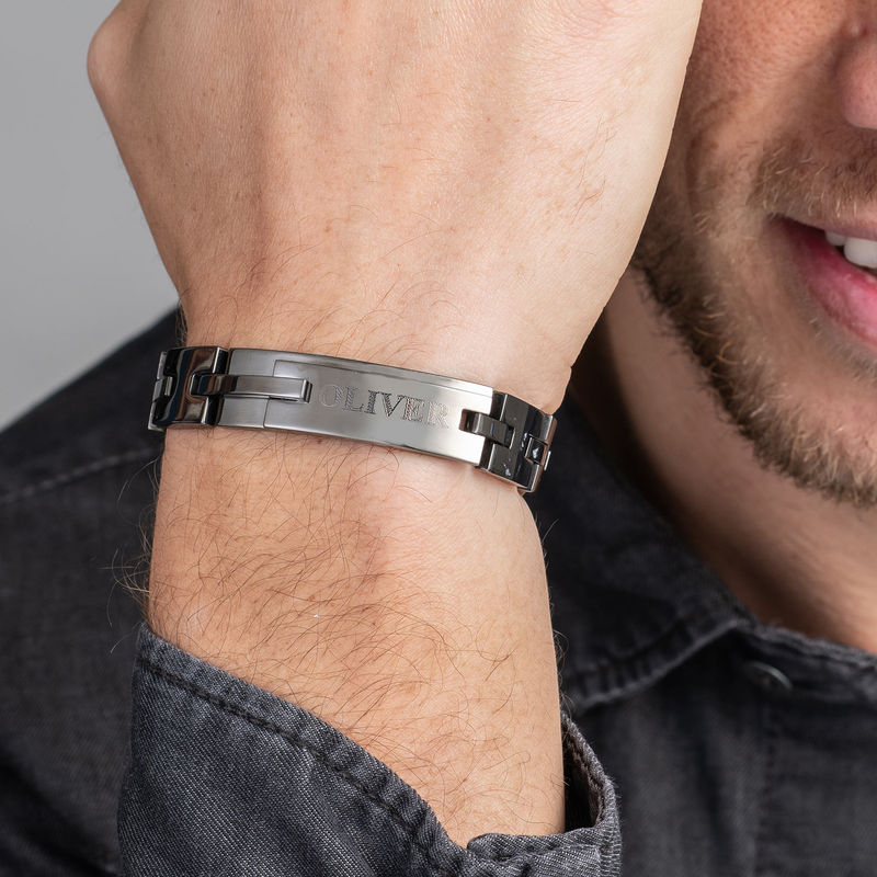 Herrarmband med gravyr i svart rostfritt stål - 2