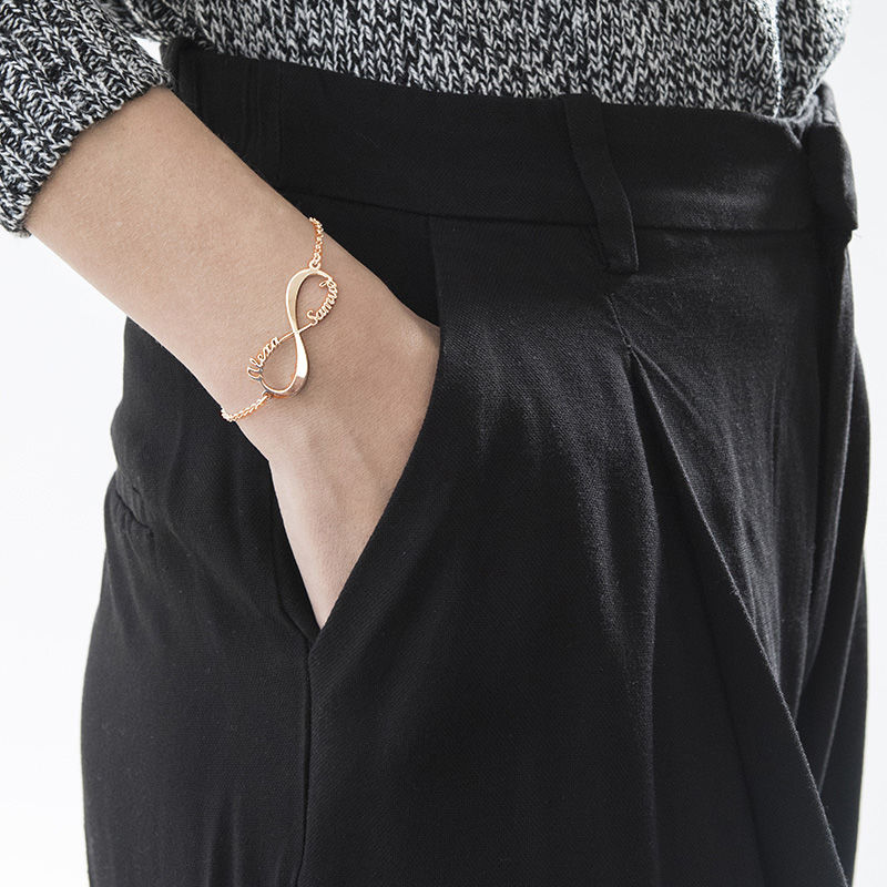 Infinity-armband med namn - roséguldplätering - 5
